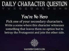 ★ DAILY CHARACTER QUESTION ★  Want to publish a story inspired by this prompt?Click hereto read the guidelines~ ♥︎: http://maxkirin.tumblr.com/post/89217719539/i-apologize-if-this-has-already-been-asked-but-would