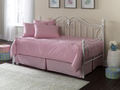 Trundle Daybed Comforter Sets With Pink Cushions Topfivecollections White Metal