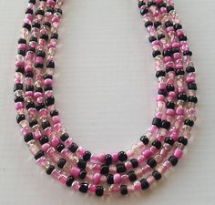 Hey, I found this really awesome Etsy listing at https://www.etsy.com/listing/523717915/pink-and-black-seed-bead-necklaces-your