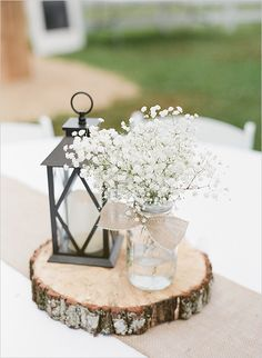 babys breath and burlap centerpieces