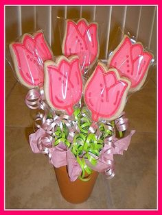 Pink Tulips Cookie Bouquet