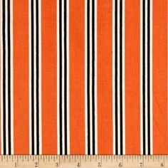 Verna Mosquera Candelabra Candy Stripe Orange from @fabricdotcom  Designed by Verna Mosquera for Free Spirit Fabrics, this cotton print collection has a retro feel with bold prints reminiscent of the 70's. Colors include burnt orange, black, and off-white.