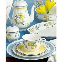 blue yellow pottery dishes - Google Search
