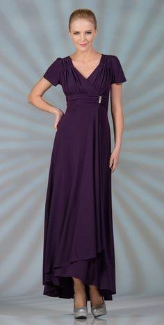 Tea Length Modest Eggplant Choir Dress Short Sleeves V Neckline $89.99