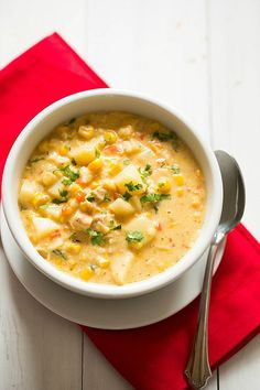 Chipotle Chicken and Corn Chowder... UHMAZING! Really thick and spicy. I used anaheims instead of poblanos because we like the flavor better. Mmmmm.