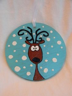 Reindeer Hand Painted Glass Ornament by GlassDesignsbyHolly, $12.00