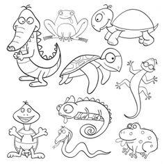 Kostenlose Malvorlage Tiere: Kostenlose Malvorlage: Reptilien und Amphibien zum Ausmalen