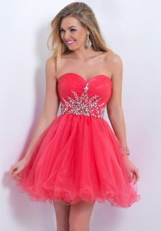 Blush 9860 Tulle Layered Beaded Coral Party Dress 2014