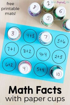 Math facts activity with paper cups. A simple way for kids to learn math facts. Math facts activity with paper cups. A simple way for kids to learn math facts. Math for Kids Math For Kids, Fun Math, Simple Games For Kids, Kids Fun, Math Stations, Math Centers, Math Skills, Math Lessons, Learn Math Online
