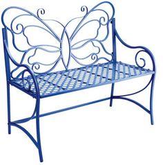 Butterfly garden bench (for my secret garden). Outdoor Chairs, Outdoor Furniture, Outdoor Decor, Metal Garden Furniture, Iron Bench, Iron Furniture, Butterfly Chair, Red Butterfly, Butterfly Design