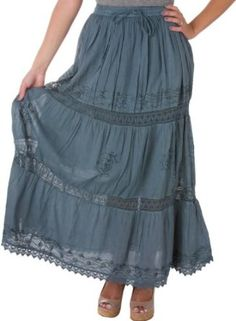 AA254 - Solid Embroidered Gypsy / Bohemian Full / Maxi / Long Cotton Skirt - Gray/One Size
