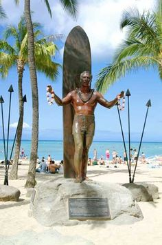 #DukeKahanamoku :: there was such controversy about the installation of the Duke's statue installed with him facing his back to the ocean.  in our culture, you never face your back to the ocean. water safety and basic common sense are the reasons.  I don't know if he still stands like this or not.
