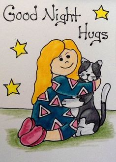 "Aceo Original  ""GOOD NIGHT HUGS""  pencil/ink  #OutsiderArt"