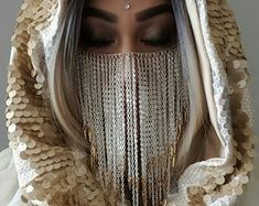 Discover recipes, home ideas, style inspiration and other ideas to try. Arab Fashion, Fashion Mask, Festival Outfits, Festival Fashion, Arabian Costume, Weird Jewelry, La Face, Face Jewellery, Arab Girls Hijab