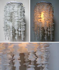 Lámparas con pajitas blancas • White Straw Hanging Light, craft by Allison Patrick, the3rsblog