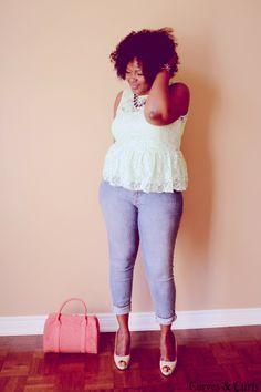 Plus size fashion blogger #mycurvesandcurls #lace #peplum #ciaafrique  #mint