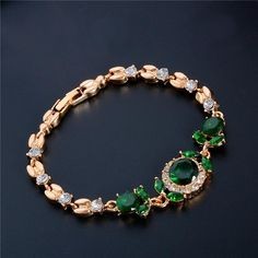 H:HYDE Fashion Women/Lady's Gold Color CZ Stones Austrian Crystal Flower Bracelets & Bangles Jewelry Nice Shipping