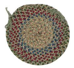 Twilight Round Braided Wool Blend Chair Pad, TL60 Palm