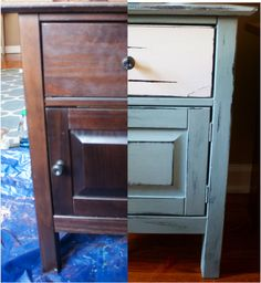 Before & After side table with Annie Sloan chalk paint + Annie Sloan clear soft wax