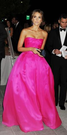 Reem Acra on Jessica Alba the high saturated fuchsia looks amazing with sunkissed skin
