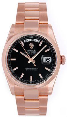 Men's Rose Gold Rolex President Day-Date Watch Engraved Bezel 118205