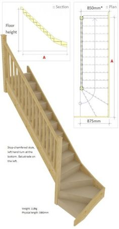 Stair Parts - Trade Stairs - LH Bottom Winder Staircase Loft Staircase, Basement Stairs, Staircase Design, Winding Staircase, Painted Stairs, Wooden Stairs, Attic Spaces, Attic Rooms, Staircase Manufacturers