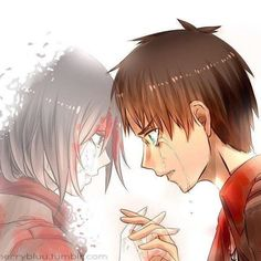This is one of the most popular ships in Attack On Titan. It is between the German teenager: Eren Jaeger, and the Fearless bad-ass: Mikasa Ackerman. It all started, When Episode sever/Eight happened- When Eren saved Mikasa from a fate worse than death. Attack On Titan Eren, Attack On Titan Ships, Mikasa X Eren, Armin, Fanarts Anime, Manga Anime, Aot Anime, Tokyo Ghoul, Eremika