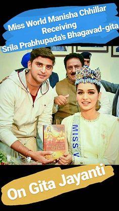 Breaking News   Miss World 2017 Manushi Chhillar recieves Srila Prabhupada's Bhagavad-gita As It Is by HG Govind Krsna Das on the behalf of ISKCON at the same Land where Lord Krishna Spoke the Bhagavad Gita (Kurukshetra India) & on the same day when it was spoken (Gita Jayanti - The Advent of Bhagavad Gita) !  They even had discussions & She even chanted the Hare Krishna Mahamantra.  All Glories to Srila Prabhupada !  #radha #krishna #Prabhupada #devotion #harekrishna #iskcon #chandigarh
