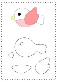 Ideas for aplicaciones patchwork ideas Felt Animal Patterns, Felt Crafts Patterns, Applique Patterns, Stuffed Animal Patterns, Motifs D'appliques, Felt Templates, Felt Birds, Felt Fabric, Felt Diy