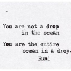 You are not a drop in the ocean. You are the entire ocean in a drop—Rumi