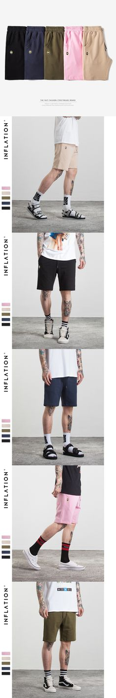 INFLATION 2017 New Arrivals Mens Pocket Sweat Shorts High Quality Joggers Casual Hip Hop Loose Short