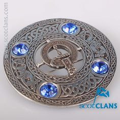 MacLellan Clan Crest Pewter Plaid Brooch. Free worldwide shipping available