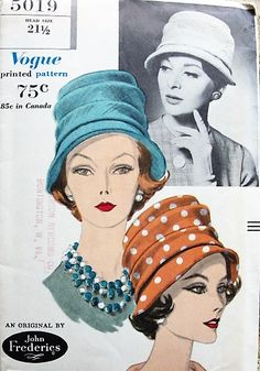 1960 CLASSY John Frederics Hat Pattern VOGUE 5019 Deep Crown Soft Pleated Hat Vintage Sewing Pattern UNCUT