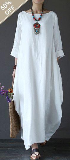 Vintage Women Solid 3/4 Sleeve Loose Robe Dress For Women #fashion #dress
