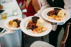 Duet Entree of Grilled Salmon with Peach & Mango Salsa, Herb-Crusted Filet Mignon, Grilled Marinated Vegetables, and Truffle Mashed Potatoes at Crossed Keys Estate wedding venue. Photography by Brae Howard.