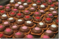 valentine's treats. valentine cookies, valentine treats, valentine day, food, colors, buttons, valentine ideas, hershey kisses, pretzels