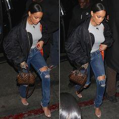 Rihanna Vetements black oversized bomber jacket 843598ddbd0ab