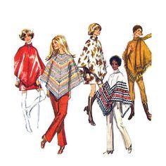 1970s Poncho Mini Skirt & Pants Pattern by finickypatternshop, $10.95