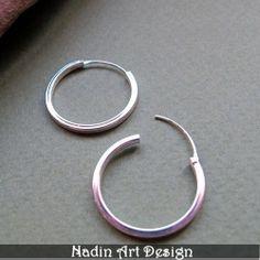 20 mm Creolen Ohrringe - Sterlingsilber Creolen von NadinArtDesign auf DaWanda.com