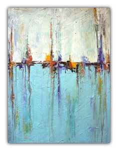 """On Sale - """"Sailing"""" Abstract White and Blue Painting – Textured Art"""
