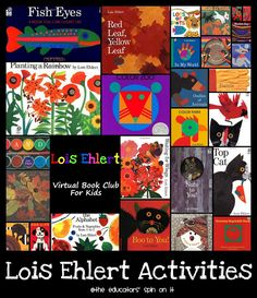 Itty Bitty Extra Activity - More Lois Ehlert Art Activities: The Educators' Spin On It: Lois Ehlert Author Study {Virtual Book Club for Kids} Preschool Literacy, Preschool Books, Early Literacy, Literacy Activities, Preschool Ideas, Preschool Programs, Lois Ehlert Author Study, Book Study, Book Art