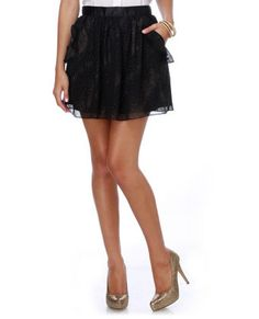 Full Moon Studded Black Mini Skirt, Lulu's, $34.50