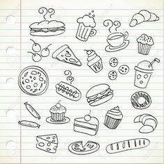 Food doodles Related posts: Girls Power lettering with girly doodles for valentines day card design, girl… 25 Floral Doodles for. Doodle Drawings, Doodle Art, Easy Drawings, Food Doodles, Cute Doodles, Doodle Inspiration, Bullet Journal Inspiration, Stencil, Doodle Icon