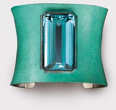 HEMMERLE JEWELRY - Bracelet set in aquamarine - white gold - copper.