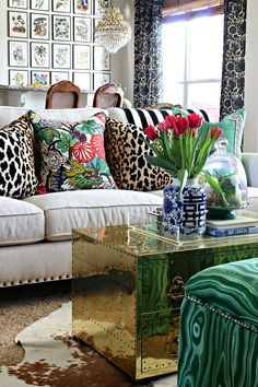 Dimples Tangles So many favorites are combined here - Chinoiserie fabrics Greek key and blue and white Chinese porcelain mixed with malachite animal print cowhide brass and lucite. Cozy Living Rooms, Living Room Decor, Apartment Living, Bedroom Decor, Cow Hide Rug Living Room, Living Room Pillows, Living Furniture, Plywood Furniture, Bedroom Sets