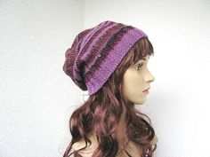 hand knit womens teen slouchy beanie hat purple and burgundy