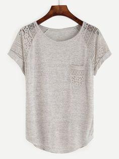T-Shirts by BORNTOWEAR. Contrast Lace Raglan Sleeve Tee