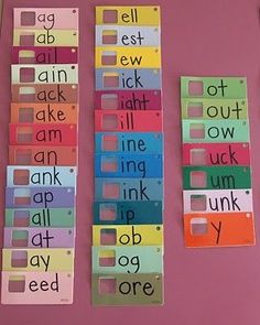 Paint chips for word families
