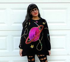 1980s Vintage Black Sequin Space Sweater Saturn by Enchantedfuture