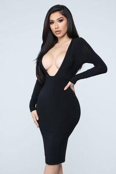 Grabbing The Attention Midi Dress - Black – Fashion Nova Sexy Dresses, Casual Dresses, Fashion Dresses, Mini Dresses, Long Sleeve Midi Dress, Black Midi Dress, Dress Long, Fashion Nova Models, Dope Fashion